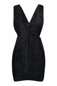 Womens Petite Cord Plunge Button Front Dress - black - 14, Black