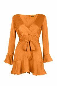 Womens Petite Hammered Satin Flare Ruffle Skater Dress - orange - 8, Orange