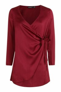 Womens Petite Wrap Satin Dress - red - 10, Red
