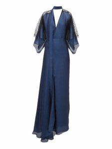 Roland Mouret - Weston Draped Chiffon Gown - Womens - Navy Multi