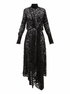 Petar Petrov - Dyan Leopard Devoré Ruched Front Dress - Womens - Beige Print
