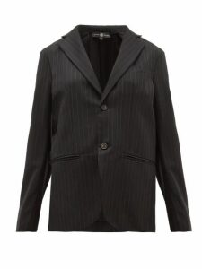 Edward Crutchley - Single Breasted Pinstriped Wool Twill Blazer - Womens - Black