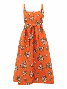 Emilia Wickstead - Shelly Floral Print Cloqué Dress - Womens - Orange Multi