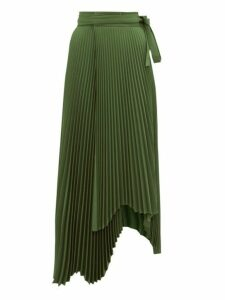 A.w.a.k.e. Mode - Doric High Rise Pleated Midi Skirt - Womens - Dark Green