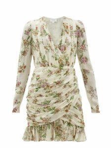Giambattista Valli - Ruched Floral-print Silk-georgette Mini Dress - Womens - Ivory Multi