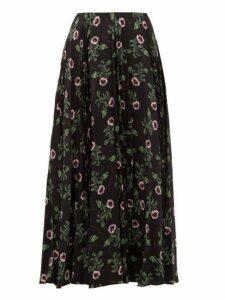 Valentino - X Undercover Lip Floral Print Silk Midi Skirt - Womens - Black Multi