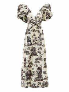 Johanna Ortiz - Anhelos De Tierra Printed Cotton Poplin Maxi Dress - Womens - White Black