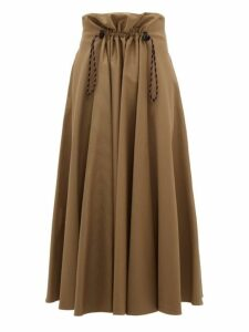 Golden Goose - Ayeme Paperbag Waist Cotton Twill Midi Skirt - Womens - Camel