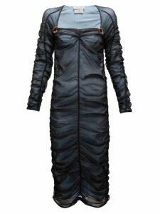 Bottega Veneta - Square Neckline Ruched Tulle Midi Dress - Womens - Black Multi