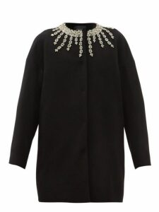 Giambattista Valli - Crystal Embroidered Collarless Coat - Womens - Black