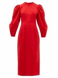 Sara Battaglia - Backless Balloon Sleeve Wool Blend Midi Dress - Womens - Red
