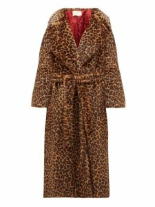 Sara Battaglia - Leopard Print Faux Fur Wrap Coat - Womens - Leopard