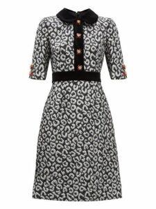 Dolce & Gabbana - Leopard Jacquard And Velvet Trim Midi Dress - Womens - Silver Multi