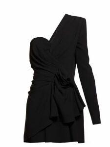 Saint Laurent - Asymmetric Gathered Crepe Mini Dress - Womens - Black