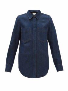 Lemaire - Contrast Stitch Denim Shirt - Womens - Dark Blue