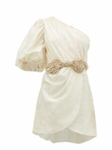 Johanna Ortiz - Ancestral Maloca One Shoulder Jacquard Mini Dress - Womens - Ivory