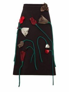 Prada - Silk Flower Appliqué A Line Wool Skirt - Womens - Black Multi