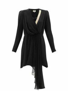 Zeus + Dione - Lysia Draped Silk Crepe De Chine Mini Dress - Womens - Black Multi