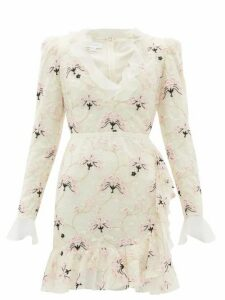 Giambattista Valli - Floral Embroidered Chantilly Lace Mini Dress - Womens - Ivory Multi