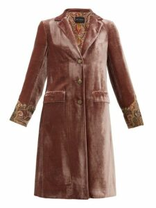 Etro - Bristol Beaded-cuff Velvet Coat - Womens - Pink