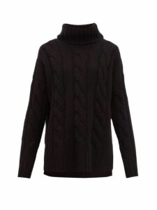 Nili Lotan - Brynne Roll Neck Cable Knit Cashmere Sweater - Womens - Black