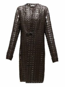 Bottega Veneta - Single Breasted Woven Leather Coat - Womens - Dark Brown