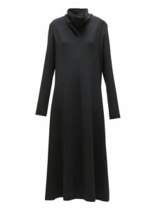 The Row - Barbara Funnel Neck Crepe Midi Dress - Womens - Black