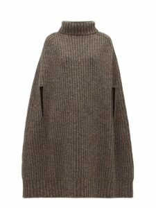 Jil Sander - Cashmere Blend Rib Knit Cape - Womens - Grey