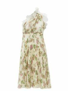Giambattista Valli - One-shoulder Floral-print Plissé Silk Dress - Womens - Ivory Multi