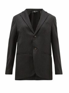 Edward Crutchley - Single Breasted Chalk Striped Wool Twill Blazer - Womens - Black
