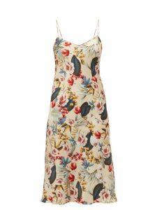 Adriana Iglesias - Jadi Floral Print Silk Blend Satin Slip Dress - Womens - Nude Multi