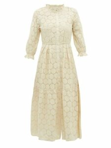 Apiece Apart - Suenos Cotton Blend Broderie Anglaise Midi Dress - Womens - Cream