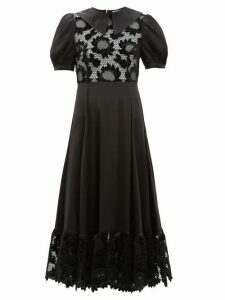 Shrimps - Morpheus Lace Bodice Puff Sleeve Dress - Womens - Black