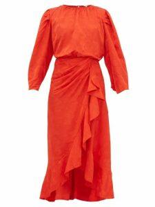 Johanna Ortiz - Cuentos Y Relatos Jacquard Satin Midi Dress - Womens - Red