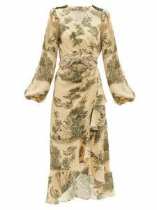 Johanna Ortiz - Al Son Del Tambor Silk Georgette Wrap Dress - Womens - Green Multi