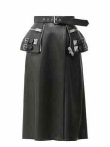 Alexander Mcqueen - Peplum-belt Leather Skirt - Womens - Black Multi