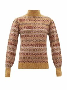 Isabel Marant Étoile - Ned Fair Isle Knitted Wool Sweater - Womens - Brown Multi