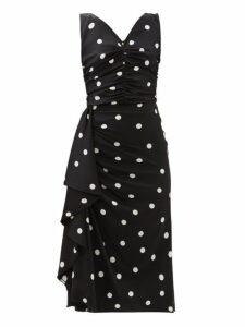 Dolce & Gabbana - Polka-dot Ruched Silk-blend Midi Dress - Womens - Black White