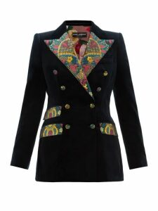 Dolce & Gabbana - Double Breasted Floral Brocade And Velvet Blazer - Womens - Dark Blue