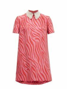 Sara Battaglia - Faux Pearl Collar Zebra Jacquard Shift Dress - Womens - Pink Multi