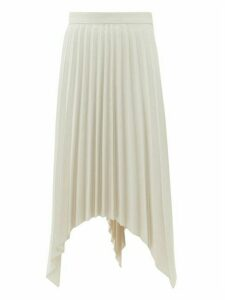 Acne Studios - Ilsie Pleated Asymmetric Wool Blend Skirt - Womens - White Multi