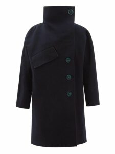 Acne Studios - Ciara Asymmetric Wool Blend Overcoat - Womens - Navy