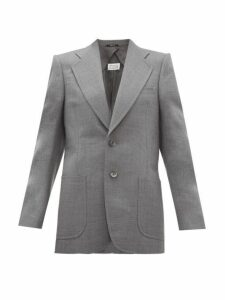 Maison Margiela - Single Breasted Longline Wool Blend Blazer - Womens - Grey