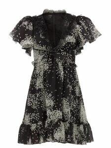 Giambattista Valli - Square Print Lace Trimmed Silk Georgette Dress - Womens - Black White