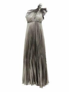 Giambattista Valli - One Shoulder Silk Blend Pleated Metallic Gown - Womens - Silver