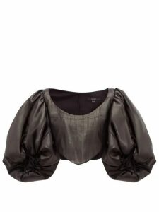 Ellery - Sister Morphine Balloon Sleeve Faux Leather Top - Womens - Black
