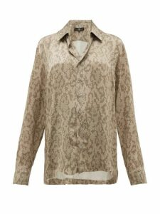 Edward Crutchley - Snake Print Cuban Collar Silk Shirt - Womens - Beige Multi