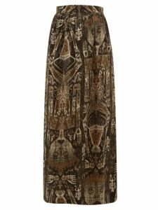 Edward Crutchley - Raja Print Silk Skirt - Womens - Brown Multi