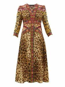 Etro - Animal Print V Neck Midi Dress - Womens - Leopard