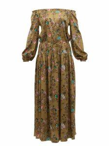 Adriana Iglesias - Creek Floral Print Silk Blend Satin Maxi Dress - Womens - Brown Multi